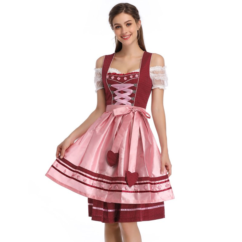 [EU Direct] Kojooin Women's Traditional German Dirndl Dress for Bavarian Oktoberfest Party Festival Halloween Carnival