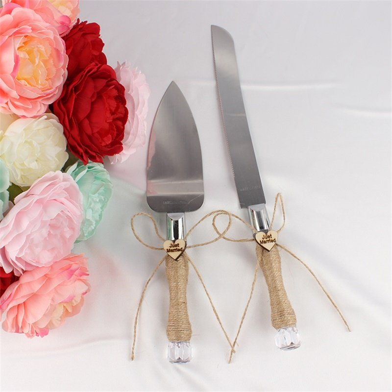 [EU Direct] Modern Design Wedding Party Cake Knife and Server Set with Stainless Steel Blades Flax Rope Twine Wrapped Handles