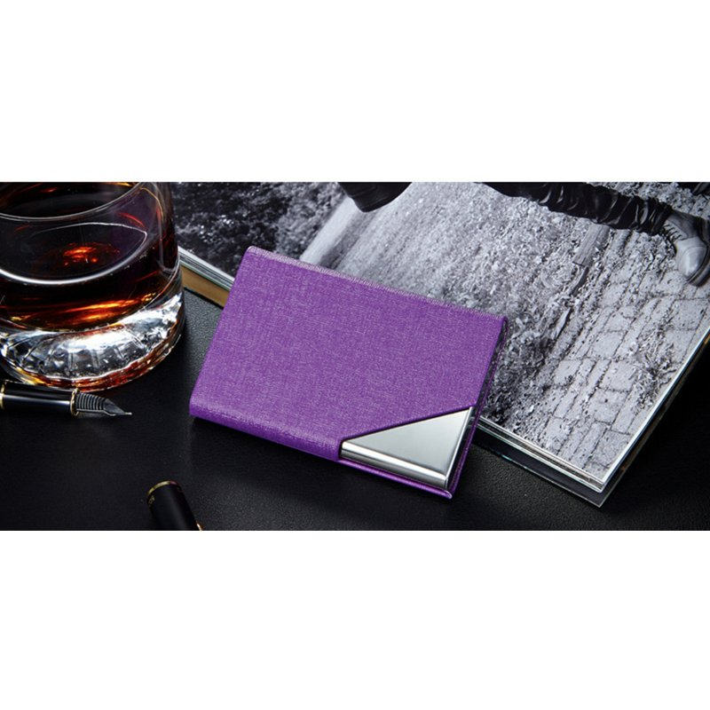 [EU Direct] PU Leather Stainless Steel Business Card Holder Name Card Case with Magnetic Shut Black