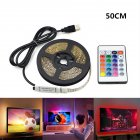 EU Direct  USB 5V LED Waterproof String Light Lamp Flexible RGB Changing Light Tape with Remote Control Ribbon  RGB 50cm