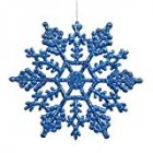 EU Direct  Vickerman Plastic Glitter Snowflake  4 Inch  Blue  24 Per Box