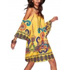 EU Direct  Women Casual Printing Bohemia Skirt Sexy Half Sleeve Strapless V neck Sling Dress yellow S