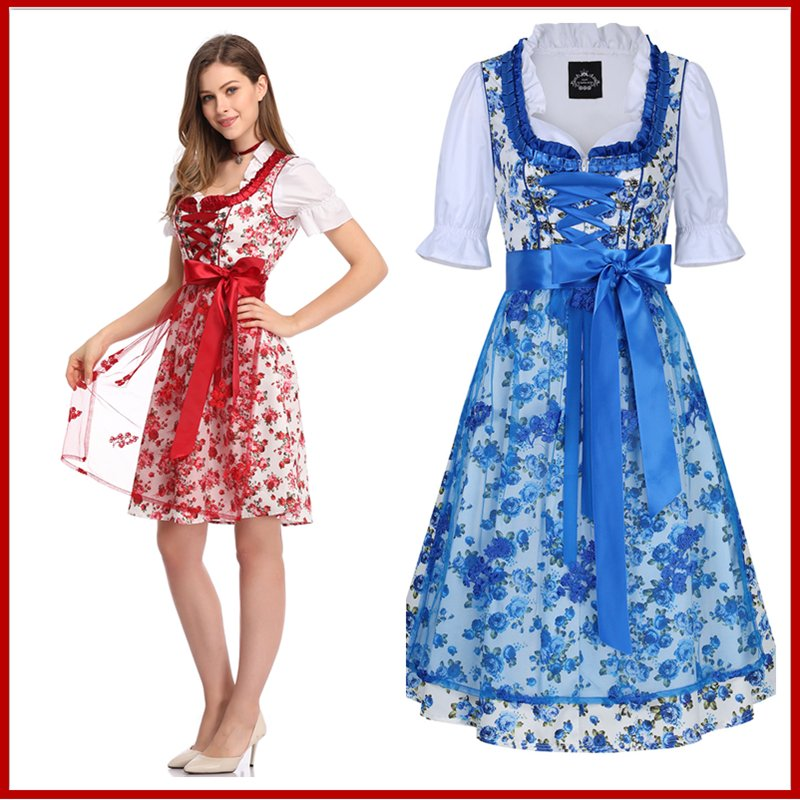 [EU Direct] Women's Classic Dirndl Sexy Lace Apron Floral Dress 3PCS Suit for Beer Festival
