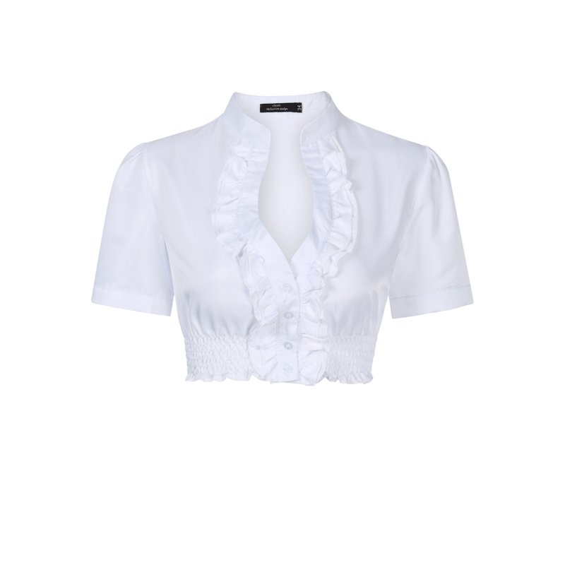 [EU Direct] Women's Solid Lace Trim Crop Top Dirndl Blouse for Beer Festival