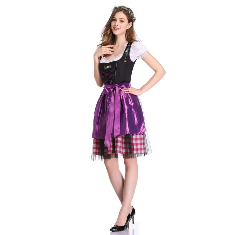 [EU Direct] Women's Oktoberfest Plaid Mesh Stitching Embroidery A Line Formal Dresses Suit