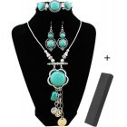 EU Direct  XY Fancy Flower Turquoise Jewelry Sets Vintage Look Tibetan Silver Alloy Delicate Necklace Bracelet Crystal Earring S001