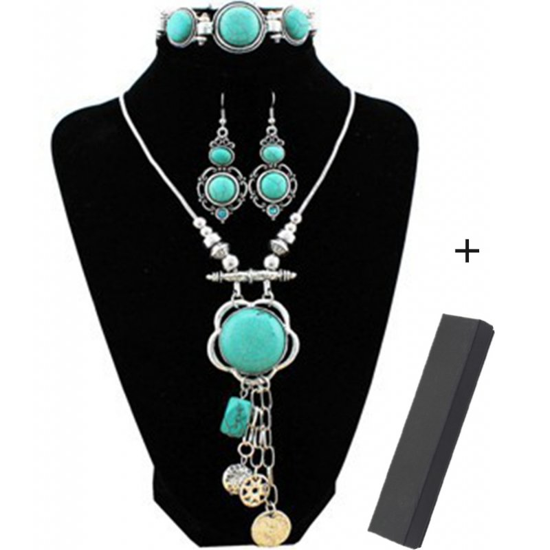 [EU Direct] XY Fancy Flower Turquoise Jewelry Sets Vintage Look Tibetan Silver Alloy Delicate Necklace Bracelet Crystal Earring S001