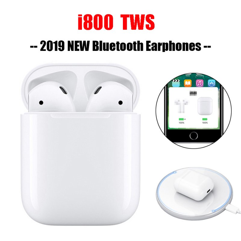 [EU Direct] i800 TWS Bluetooth 5.0 Headset 6D Bass Touch Control Wireless Earphones QI Charging  With wireless charging