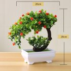 [Indonesia Direct] Artificial Plant Bonsai for Home Dining-table Office Decoration Orange flower
