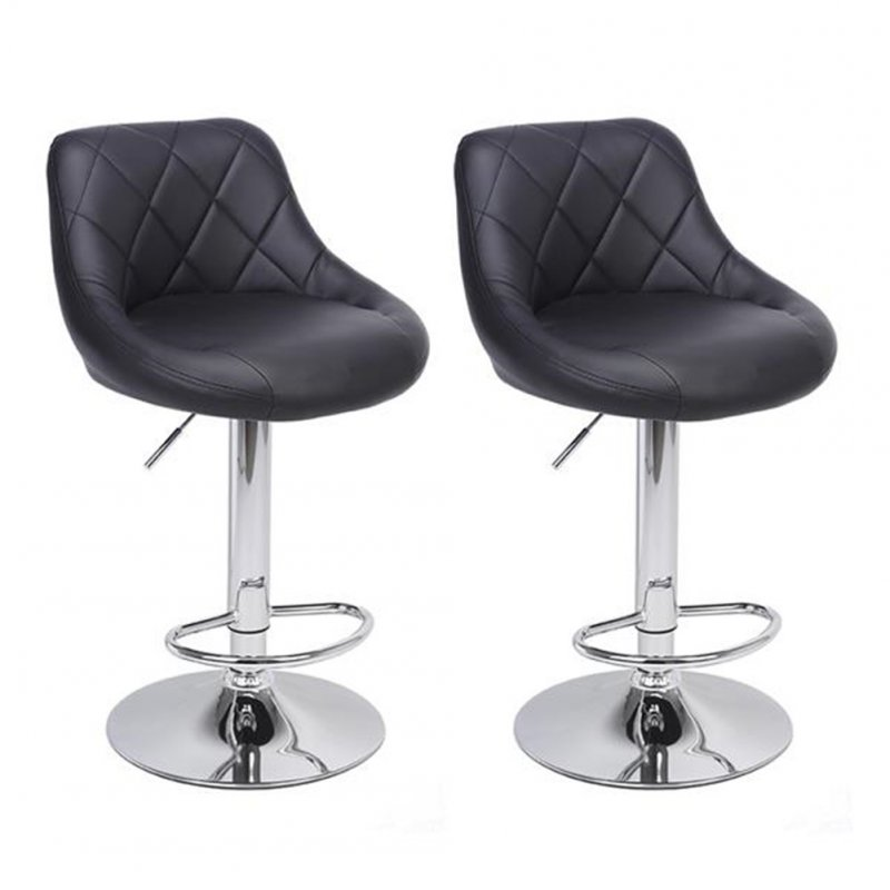 [US Direct] 2pcs Shell Back Adjustable Swivel Bar  Stools Pu Leather Padded With Back Design Chair black