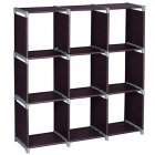 [US Direct] 3 Layer 9 Compartment Storage  Cube Pvc Brown Convenient Shelf Durable Shelf Brown