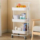 [US Direct] 3 Layers Storage  Cart With Armrest Rolling Rack For Kitchen Bedroom milk white