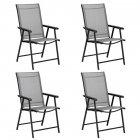 [US Direct] 4pcs/set Portable Folding  Chairs With Armrests For Courtyard Outdoor Camping Beach Deck Restaurant (gray)