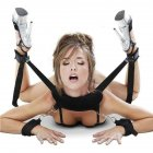 [US Direct] BDSM Bed Restraints Kit Wrist Thigh Leg Retraint System Hand & Ankle Cuff Black