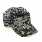 [US Direct] Camouflage Baseball Cap Show Wigs Caps Sunshade Hip Hop Hat Army green camouflage gray wig_adjustable