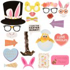US Direct  Easter Birthday Party Rabbit Egg Basket Funny Mustache Picture Photo Booth Props Kit