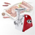 [US Direct] Electric Meat  Grinder Sausage Stuffer Maker Stainless Cutter With Handle Us Plug red