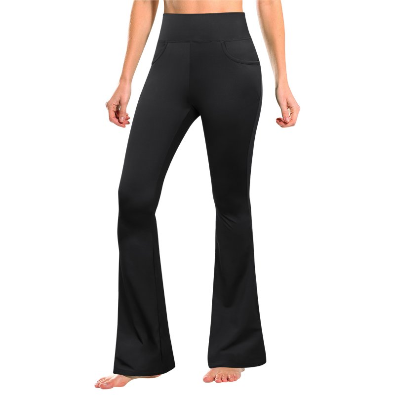 [US Direct] GloryStar Women's Sports Pants Solid Color Bootcut Yoga Pants with 4 Pockets