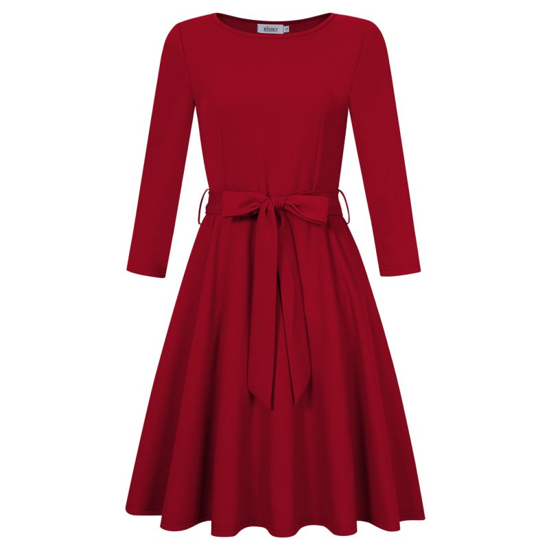 [US Direct] Ladies 3/4 Sleeve Casual Waist Repairing Swing Dress Red S+Missky Tag