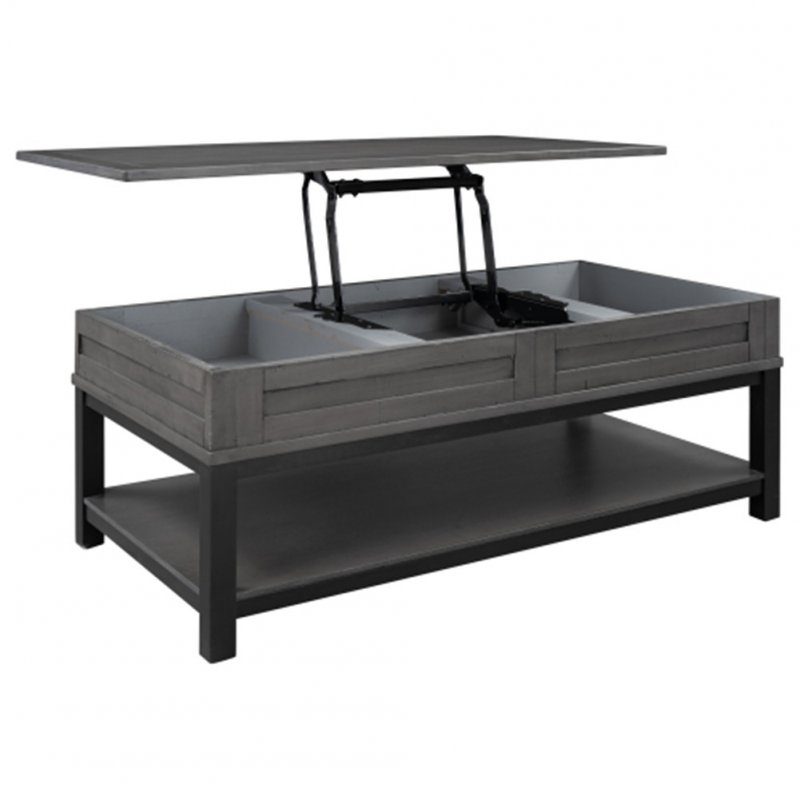 [US Direct] Mdf Board U-shaped Lift Type Coffee Table With Internal Storage Space Shelf gray