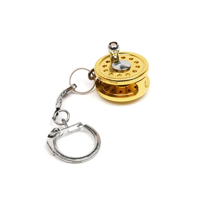[US Direct] Mini Fly Fishing Reel Charactor Miniature Key Ring Gold Key Chain Keyring