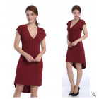[US Direct] Missky Women's V-neck Short Sleeve Casual Dress with Irregular Hem Claret_M