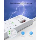 [US Direct] Original BESTEK 8-Outlet 15A Surge Protector Power Strip with USB, 2,000J, FCC ETL, 125V, DC 5V, 4.2A 4-Port USB Charging (White) white