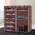 [US Direct] Original Zimtown 9 Lattices Shoes Rack Double Rows Combination Style Shoe Cabinet (Coffee)