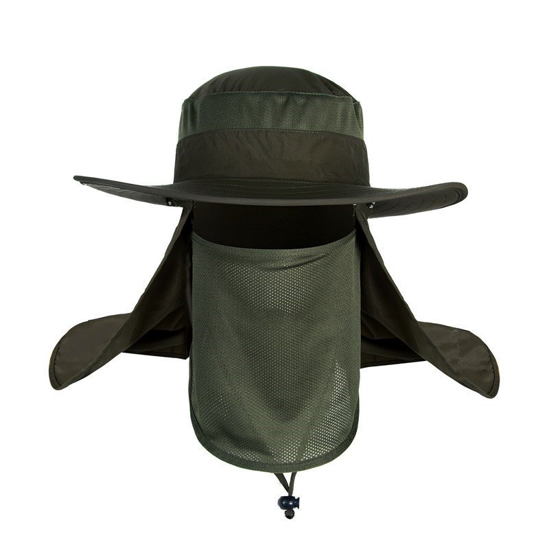 [US Direct] Outdoor Anti-UV Fashion Summer Waterproof Windproof Fishing Hat ArmyGreen_One size