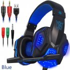 US Direct  Over Ear Gaming Headset with Mic and LED Light for Laptop Cellphone PS4  blue