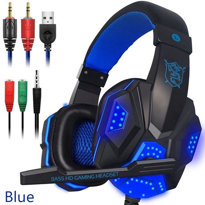 [US Direct] Over Ear Gaming Headset with Mic and LED Light for Laptop Cellphone PS4  blue