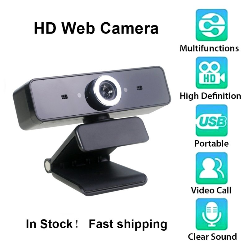 [US Direct] Webcam HD Web Camera Web Cam Video Chat Recording Camera Usb with HD Mic with Microphone For PC Computer black