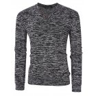 [US Direct] Yong Horse Men's Textured Slim Fit Long Sleeve V Neck Casual Henley Shirt with 4-Button Decor Flower gray_S