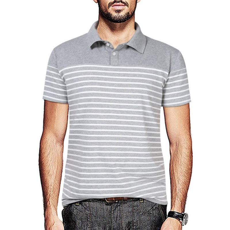 [US Direct] Yong Horse Men's Short Sleeve Contrast Color Stripe Slim Fit Polo Shirts Grey_S