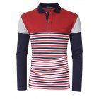 [US Direct] Yong Horse Men's Striped Color Block Slim Fit Long Sleeve Polo Shirt Red_XL