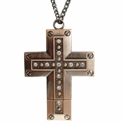 8GB USB Flash Drive Necklace - Elegant Antique Brass Cross