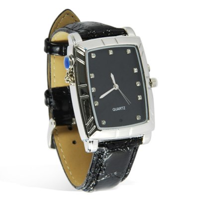 Stylish Watch with Leather Strap (Surveillance DVR)