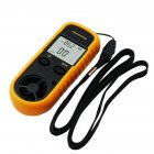 0-30m/s LCD Digital Wind Speed Temperature Measure Gauge Anemometer Yellow black