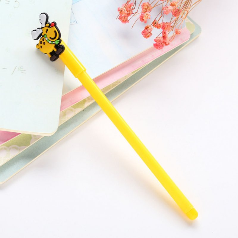0.38mm Christmas Black Neutral Pen Cartoon Snowman Bear Sock House Deer Gel Pen yellow deer_0.38mm