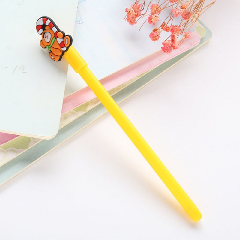 0.38mm Christmas Black Neutral Pen Cartoon Snowman Bear Sock House Deer Gel Pen yellow bear_0.38mm