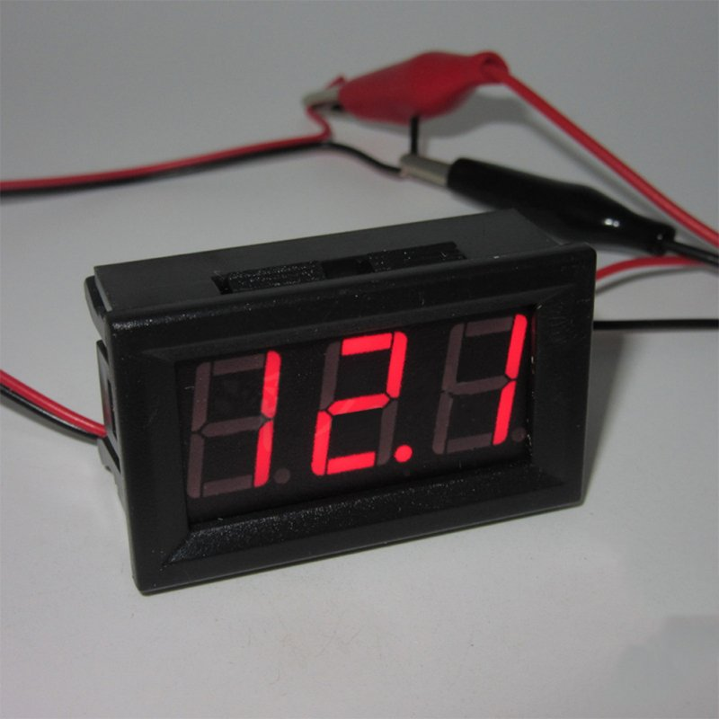 0.56 Inch 2-wire Voltage Meter Head LED Digital Voltmeter with Reverse Polarity Protection Red DC4.50-30.0V