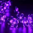 0.6W Outdoor Solar Powered String Lights, 50 LEDs Cherry Blossoms Solar Lights Courtyard Lamp String Violet