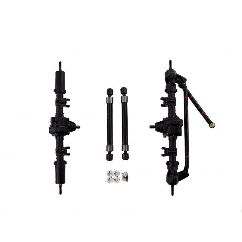 1/10 RC Car Front & Rear Bridge Axle Shaft Transmission Bridge with Differential for SCX10 SCX10 II 90046 90047 313mm 12.3in Wheelbase Assembled Frame Chassis With differential_Front and rear axles + drive shafts