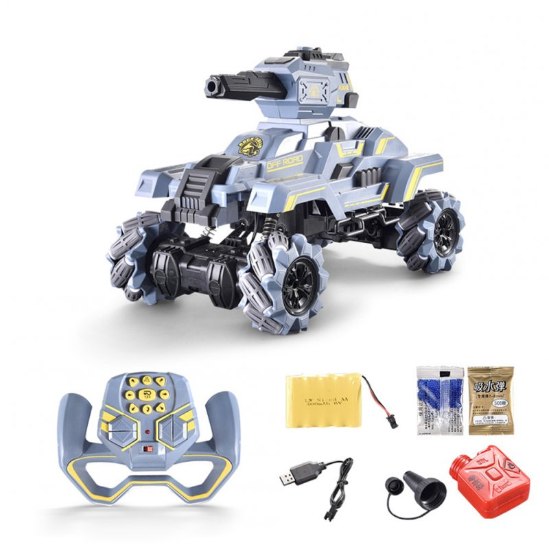 1:10 RC Tank 2.4GHz Off-Road Vehicle Brushed Engine Remote Control Stunt Car Kids Gift as shown