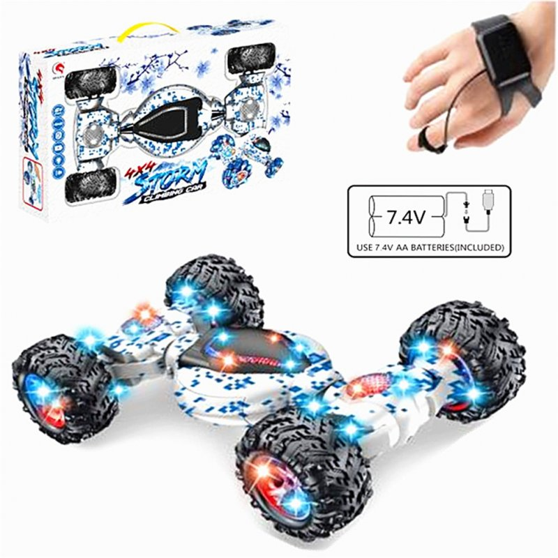 1:12 2.4GHz 4WD 10CH Double Side RC Stunt Car Gesture Sensor Watch Control Deformable Electric Car All-Terrain RC Car with LED Light for Kids blue_Off-road tire