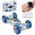 1:12 2.4GHz 4WD 10CH Double Side RC Stunt Car Gesture Sensor Watch Control Deformable Electric Car All-Terrain RC Car with LED Light for Kids blue_Mecanum Wheel