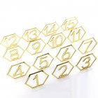 1-15 Hexagon Table Number Signs Acrylic Mirror Number Symbols for Wedding Party Decoration Gold