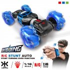 1 16 4WD RC Stunt Car Watch Control Deformable Gesture Induction with LED Light Electric Transform Drift Toy blue