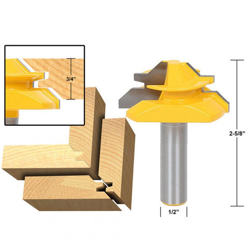 1/2 Shank 45 Degree Lock Miter Router Bit