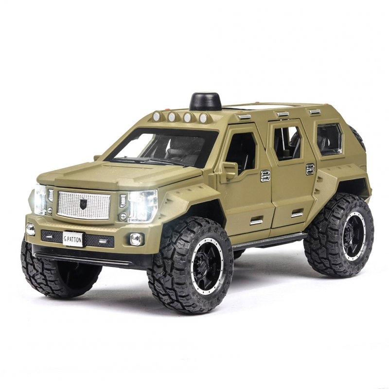 1:24 Alloy Car Model Simulation Metal Vehicle with Light Sound Doors Trunk Classic SUV for Collection Decoration Army Green